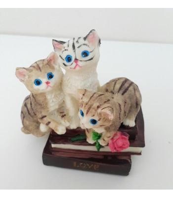 3'lü Sevimli Kedi Küçük Biblo