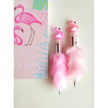 6 Renk Yazan Tüylü Flamingo Kalem