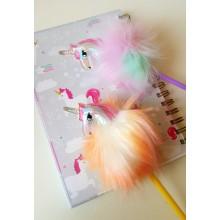 Renkli Tüylü Unicorn Kalem